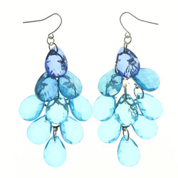 Blue & Silver-Tone Colored Metal Chandelier-Earrings With Crystal Accents #LQE1250