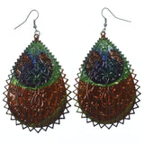 Colorful & Silver-Tone Colored Metal Dangle-Earrings #LQE1251