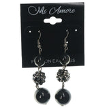 Black & Silver-Tone Colored Metal Dangle-Earrings With Bead Accents #LQE1260