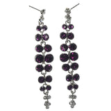 Silver-Tone & Purple Colored Metal Dangle-Earrings With Crystal Accents #LQE1265