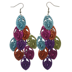 Colorful & Silver-Tone Colored Metal Chandelier-Earrings #LQE1267