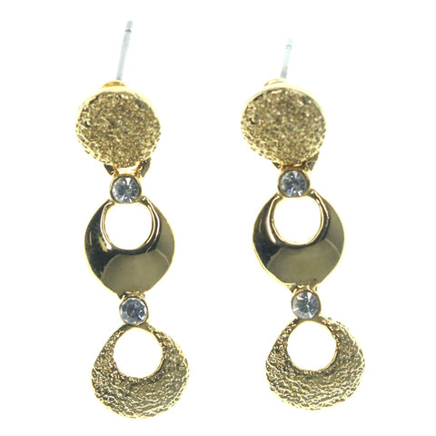 Gold-Tone Metal Dangle-Earrings With Crystal Accents #LQE1277