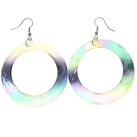 Shell Dangle-Earrings Colorful & Silver-Tone Colored #LQE1294
