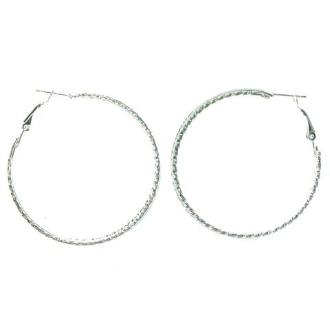 Sparkly Glittered Hoop-Earrings Silver-Tone Color  #LQE1308