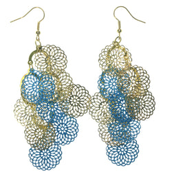 Flower Chandelier-Earrings Gold-Tone & Blue Colored #LQE1309