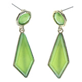 Gold-Tone & Green Colored Metal Dangle-Earrings With Crystal Accents #LQE1315
