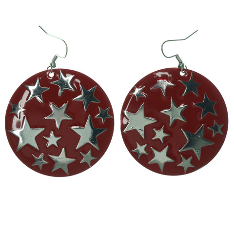 Star Dangle-Earrings Red & Silver-Tone Colored #LQE1317