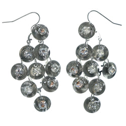 Silver-Tone Metal Chandelier-Earrings With Crystal Accents #LQE1318