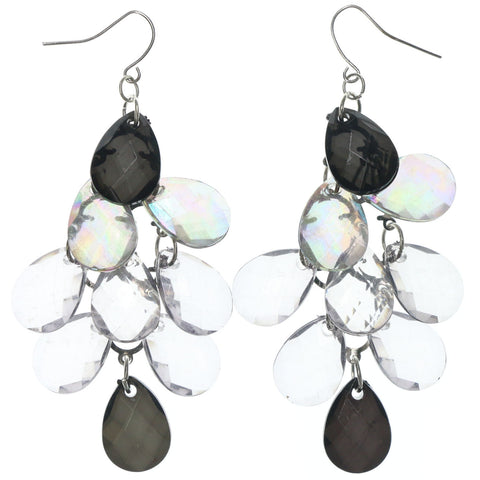 Black & Clear Colored Metal Chandelier-Earrings With Crystal Accents #LQE1322