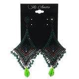 Black & Green Colored Metal Dangle-Earrings With Crystal Accents #LQE1334