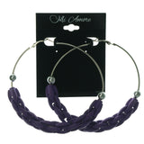 Purple & Silver-Tone Colored Metal Hoop-Earrings With Bead Accents #LQE1344