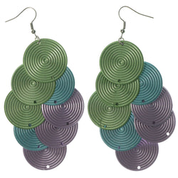 Colorful & Silver-Tone Colored Metal Chandelier-Earrings #LQE1349