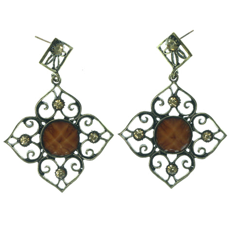 Antique Dangle-Earrings With Stone Accents Gold-Tone & Orange Colored #LQE1354