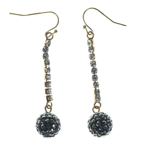 Black & Gold-Tone Colored Metal Drop-Dangle-Earrings With Crystal Accents #LQE1357
