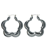 Flower Hoop-Earrings Silver-Tone Color  #LQE1367
