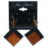 Orange & Black Colored Acrylic Dangle-Earrings With Bead Accents #LQE1372