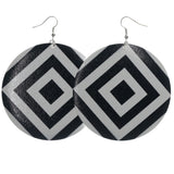 Black & White Colored Metal Dangle-Earrings #LQE1399