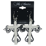 Cross Dangle-Earrings With Crystal Accents Black & Silver-Tone Colored #LQE1404