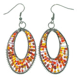 Wire Wrap Dangle-Earrings With Bead Accents Orange & Red Colored #LQE1409