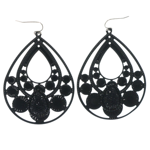 Black & Silver-Tone Colored Metal Dangle-Earrings With Crystal Accents #LQE1413