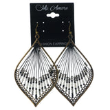 Black & Gold-Tone Colored Metal Dangle-Earrings With Bead Accents #LQE1416