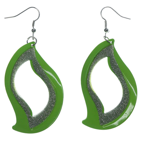Glittered Sparkly Dangle-Earrings Green & Silver-Tone Colored #LQE1463