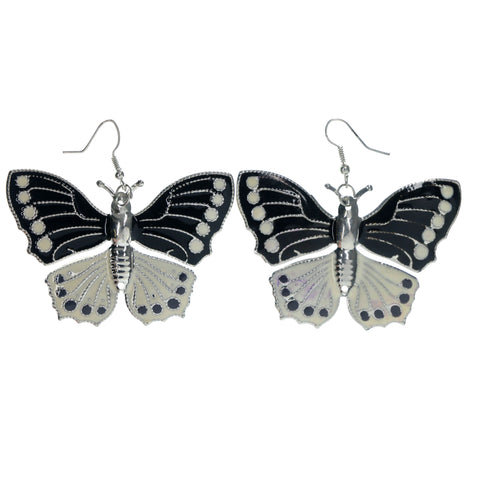 Butterfly Dangle-Earrings Black & White Colored #LQE1468