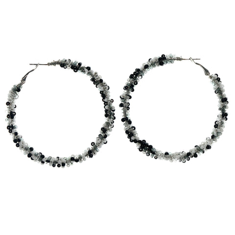 Black & White Colored Metal Hoop-Earrings With Bead Accents #LQE1469