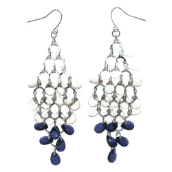 Ombre Fade Chandelier-Earrings With Bead Accents Clear & Blue Colored #LQE1489