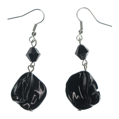 Black & Silver-Tone Colored Metal Dangle-Earrings With Stone Accents #LQE1494