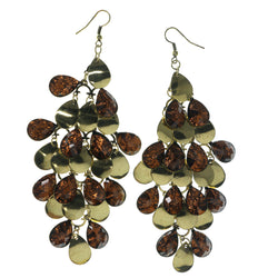 Gold-Tone & Bronze-Tone Colored Metal Chandelier-Earrings With Crystal Accents #LQE1522