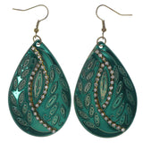 Leaf Dangle-Earrings With Crystal Accents Green & Gold-Tone Colored #LQE1542