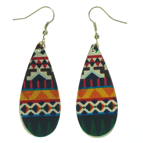 Gold-Tone & Multi Colored Metal Dangle-Earrings #LQE1550