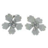 Flowers Dangle-Earrings With Crystal Accents White & Silver-Tone Colored #LQE1567