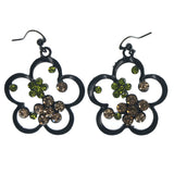 Flowers Dangle-Earrings With Crystal Accents Black & Multi Colored #LQE1572
