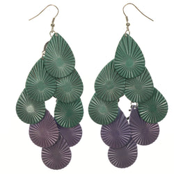 Green & Purple Colored Metal Chandelier-Earrings #LQE1579