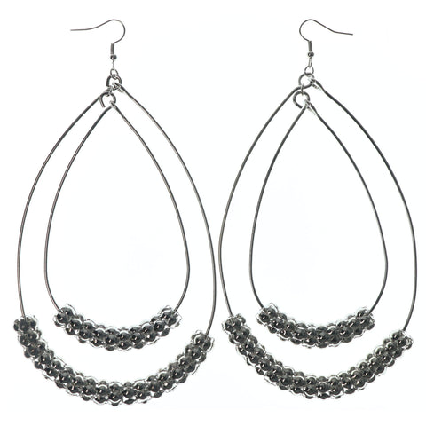 Silver-Tone Metal Dangle-Earrings With Bead Accents #LQE1583