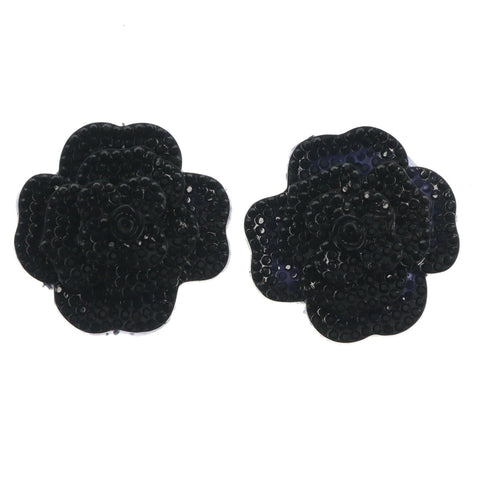 Rose Flower Stud-Earrings  With Crystal Accents Black Color #LQE1587