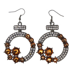 Silver-Tone & Brown Colored Metal Dangle-Earrings With Crystal Accents #LQE1993
