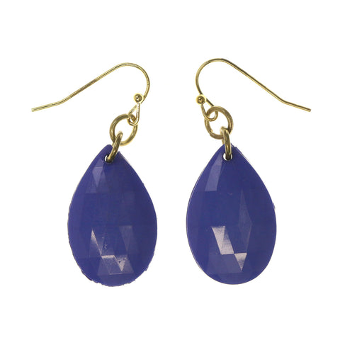 Blue & Gold-Tone Colored Metal Dangle-Earrings With Bead Accents #LQE2201