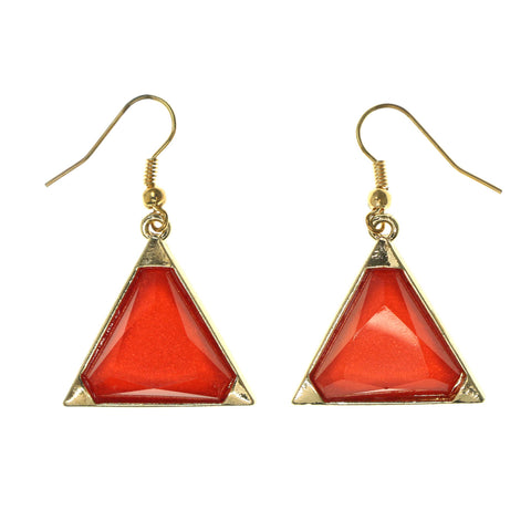 Red & Gold-Tone Colored Metal Dangle-Earrings With Crystal Accents #LQE2210