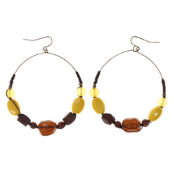 Yellow & Brown Colored Acrylic Dangle-Earrings With Bead Accents #LQE2364