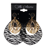 Zebra Print Drop-Dangle-Earrings With Crystal Accents Black & Gold-Tone Colored #LQE2368