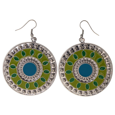 Green & Silver-Tone Colored Metal Dangle-Earrings #LQE2918