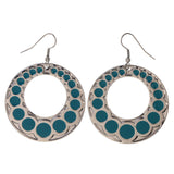 Silver-Tone & Blue Colored Metal Dangle-Earrings #LQE2920