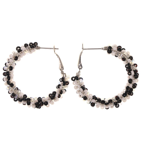 Black & White Colored Metal Hoop-Earrings With Bead Accents #LQE2934