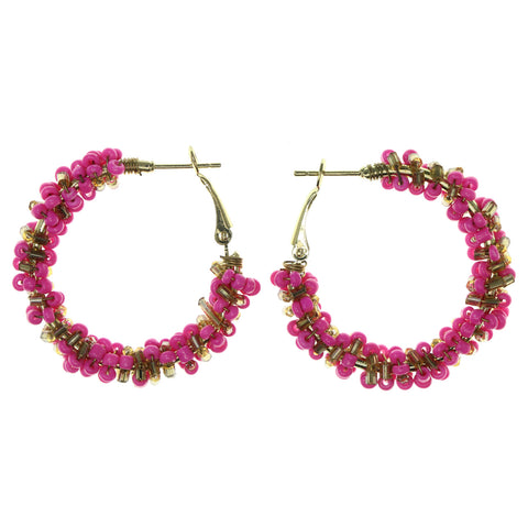 Pink & Gold-Tone Metal Hoop-Earrings With Bead Accents #LQE2935