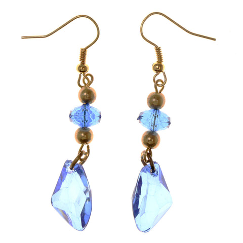 Gold-Tone & Blue Acrylic Dangle-Earrings With Bead Accents #LQE2939