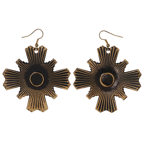 Gold-Tone & Black Colored Metal Dangle-Earrings #LQE2946