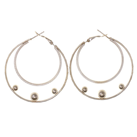 Gold-Tone & White Colored Metal Hoop-Earrings #LQE2964